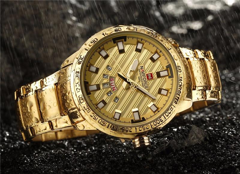 Relógio Masculino NAVIFORCE Dourado Luxo 9090 M Original