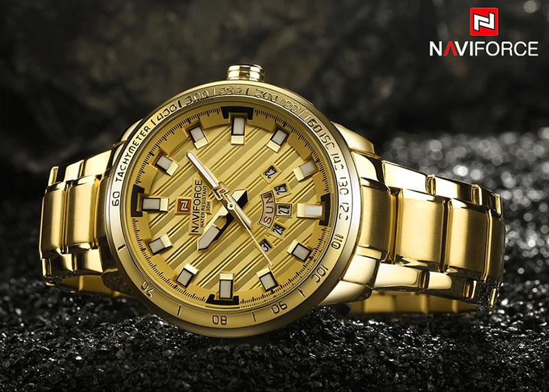 Relógio Masculino NAVIFORCE Dourado Luxury 9090 M Original