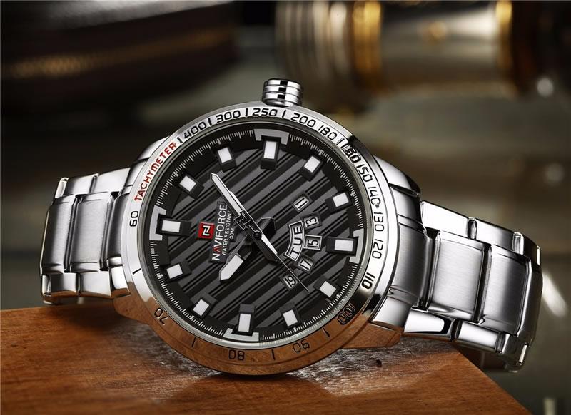 Relógio Masculino NAVIFORCE Prata Preto 9090 M Original