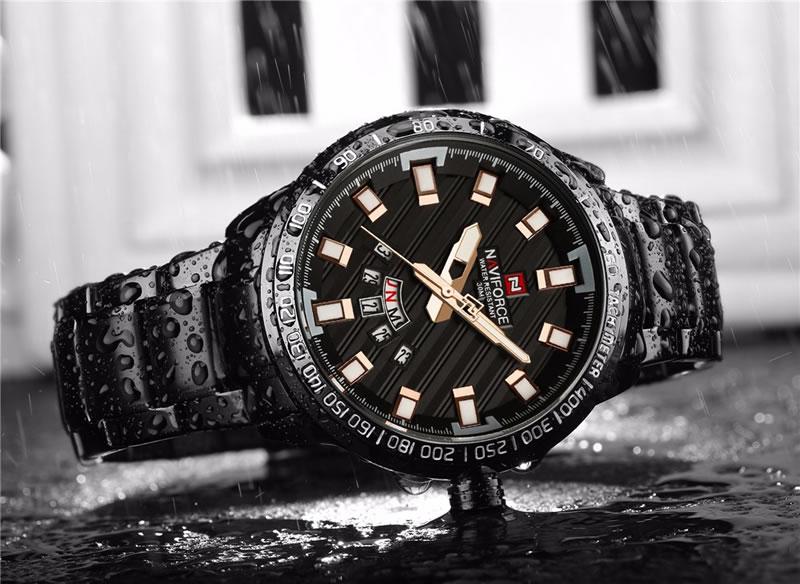 Relógio Masculino NAVIFORCE Preto Rose Agua 9090 M Original