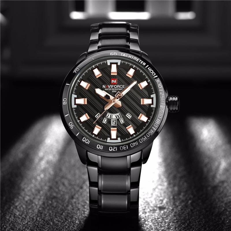 Relógio Masculino NAVIFORCE Preto Rose Pulso 9090 M Original