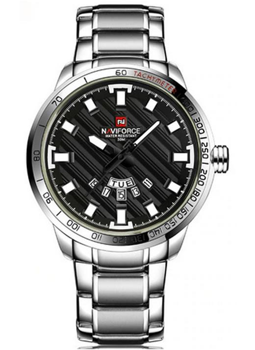Relógio Masculino NAVIFORCE 9090 M Prata Preto Original