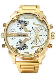 Relógio Shiweibao Luxo Dourado Branco Masculino Homem D3137
