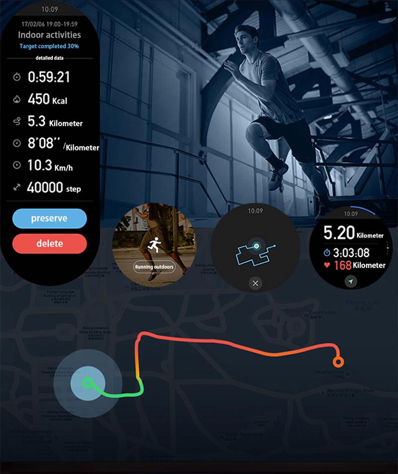 Relógio Smartwatch Relógio Eletrônico Lige Force Detalhes do Esportes em Gráficos
