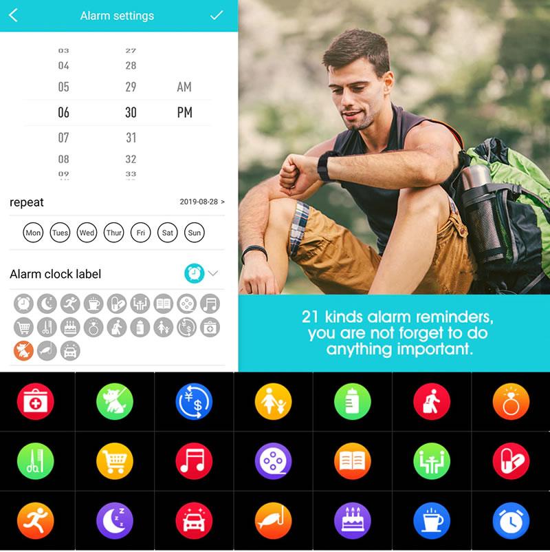 Vários alarmes O relógio q8 tem 21 despertadores. Se você tem alguns hábitos ou coisas importantes, você pode configurar um alarme para lembrá-lo. Faça a vida mais inteligente