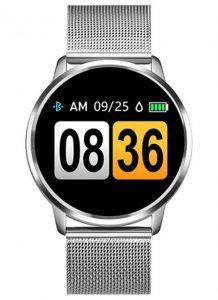 Smartwatch Relógio Eletrônico Q8 Gear Pulseira de Metal Aço Prata
