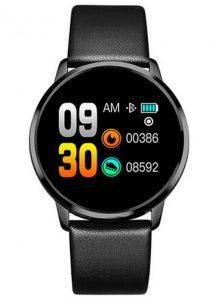 Smartwatch Relógio Eletrônico Q8 Gear Pulseira de Couro Preto
