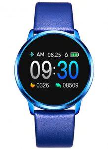 Smartwatch Relógio Eletrônico Q8 Gear Pulseira de Couro Azul