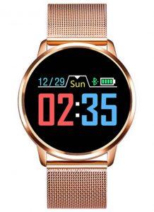 Smartwatch Relógio Eletrônico Q8 Gear Pulseira Metal Aço Dourado