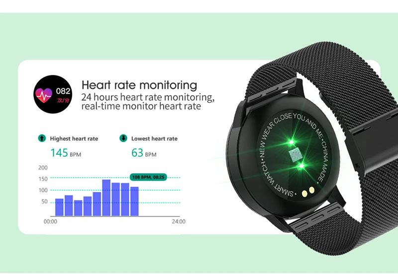 Rastreamento de sono  O relógio q8 usa sensores para gravar dados de sono, e também mede os seus estágios de sono: sono leve, sono profundo. O alarme de vibração silencioso pode acordá-lo sem perturbar.