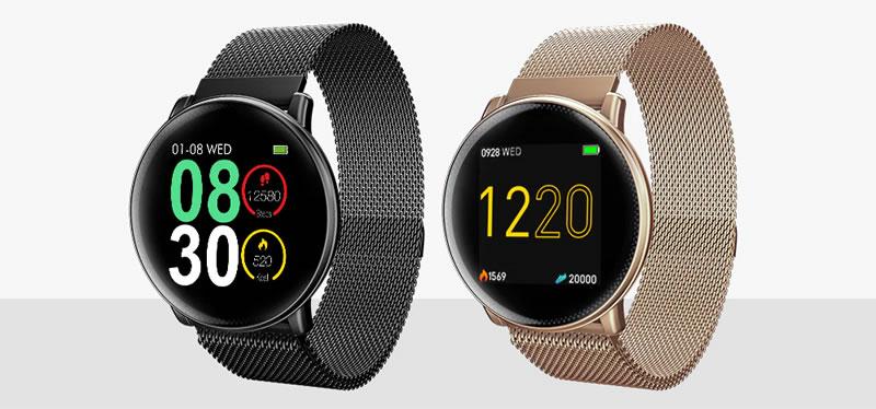 Smartwatch Umidigi Uwatch2 Relógio Inteligente Pulseira de Metal Aço Preto Dourado