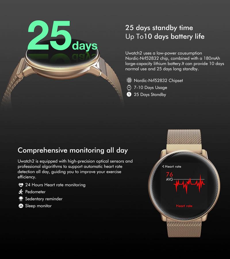 Smartwatch Umidigi Uwatch2 Relógio Inteligente Pulseira de Metal Aço Stand By 25 dias