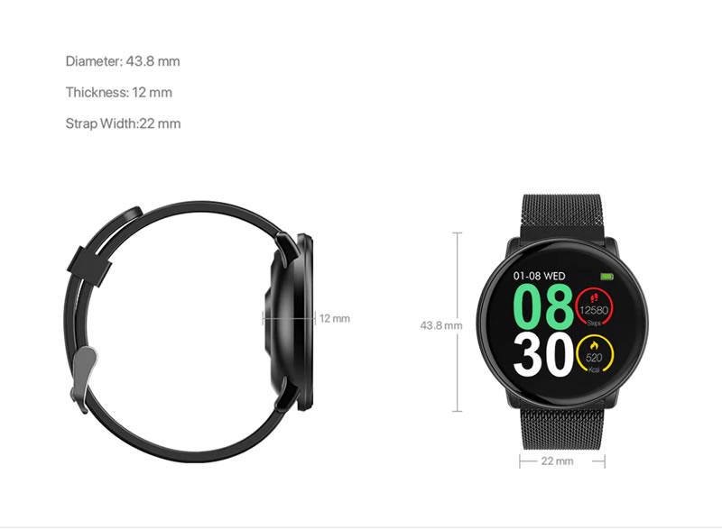 Smartwatch Umidigi Uwatch2 Relógio Inteligente Pulseira de Metal Aço Medidas