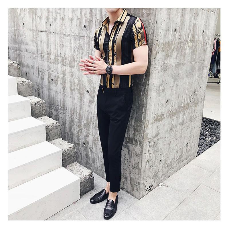 Camisa Masculina Importada Slim Fit Luxo Luxury Estilosa Moderna Ouro Preto