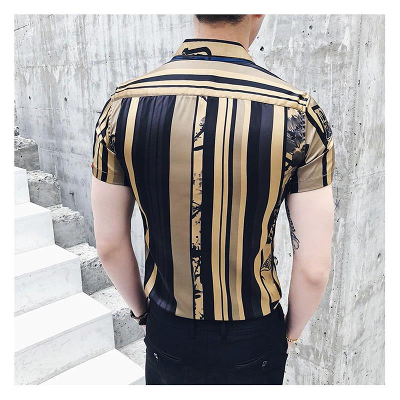 Camisa Masculina Importada Slim Fit Luxo Luxury Estilosa Moderna Ouro Preto Costas