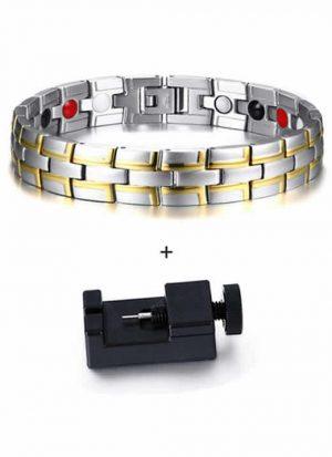 Pulseira Bracelete Magnética Bioenergética Prata Dourado