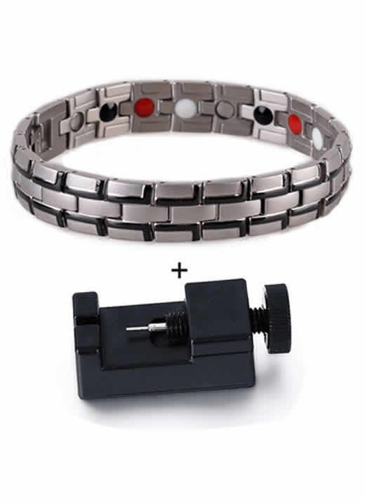 Pulseira Bracelete Magnética Bioenergética Prata Preto