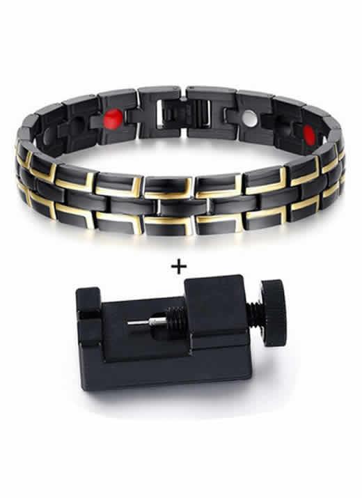Pulseira Bracelete Magnética Bioenergética Preto Dourado