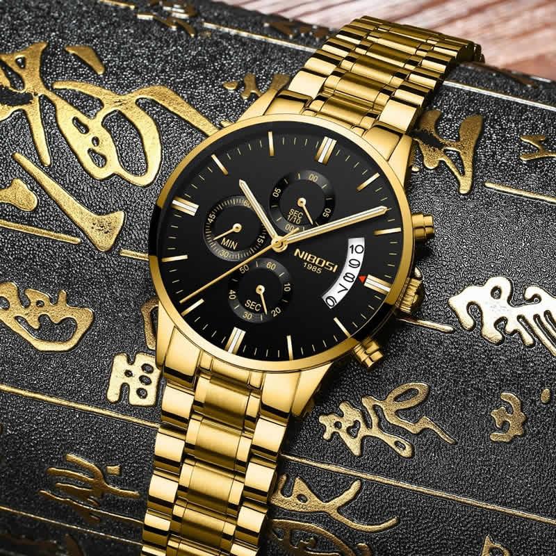 Relógio Blindado NIBOSI Inox Funcional Dourado