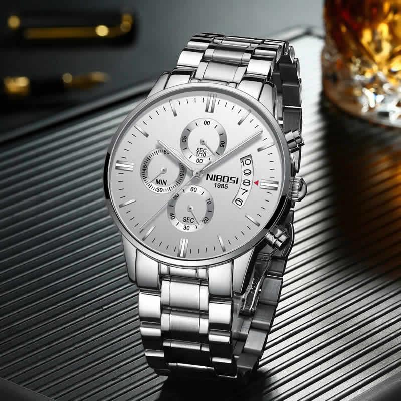 Relógio Blindado NIBOSI Inox Funcional Prata