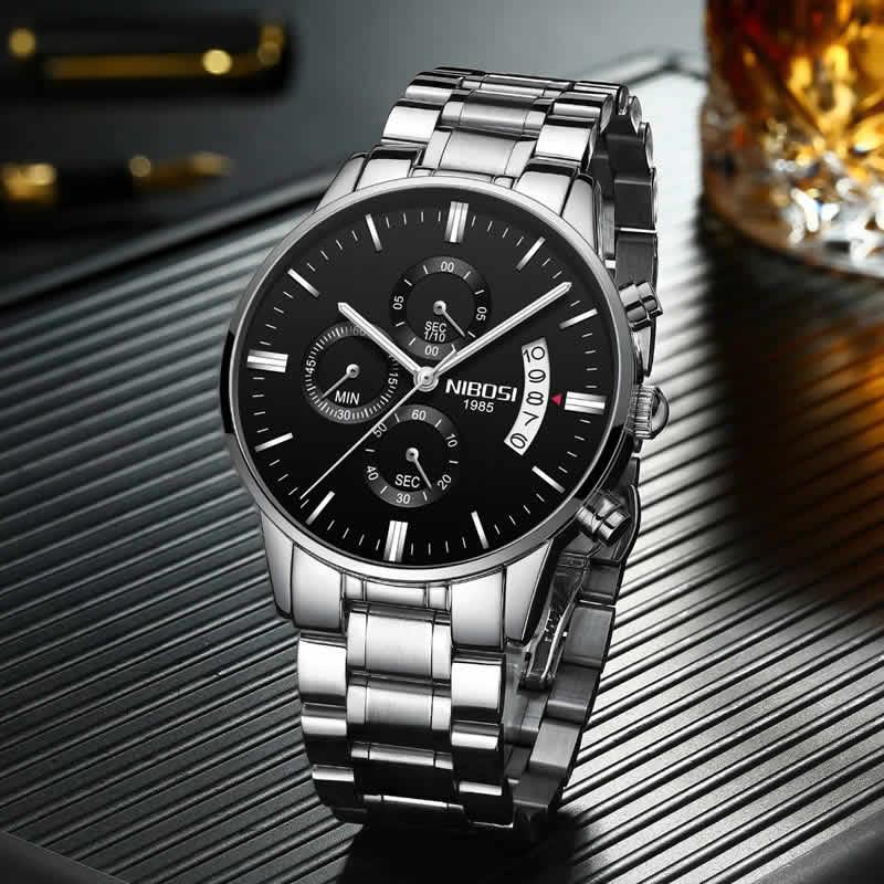 Relógio Blindado NIBOSI Inox Funcional Prata Preto