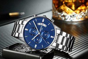 Relógio Blindado NIBOSI Inox Funcional Prata Azul