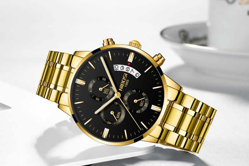 Relógio Blindado NIBOSI Inox Funcional Dourado Preto