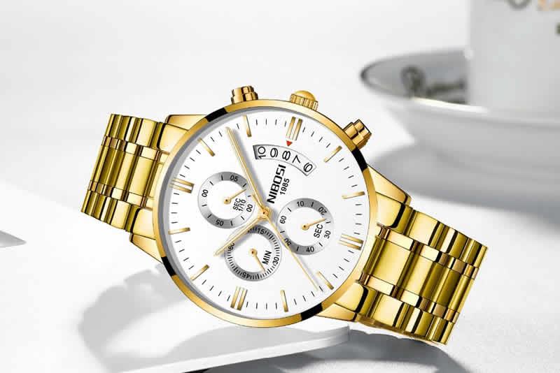 Relógio Blindado NIBOSI Inox Funcional Dourado Branco