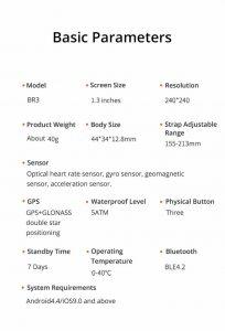 Relógio Smartwatch Makibes BR3 Com Gps para corrida e Strava Parametros