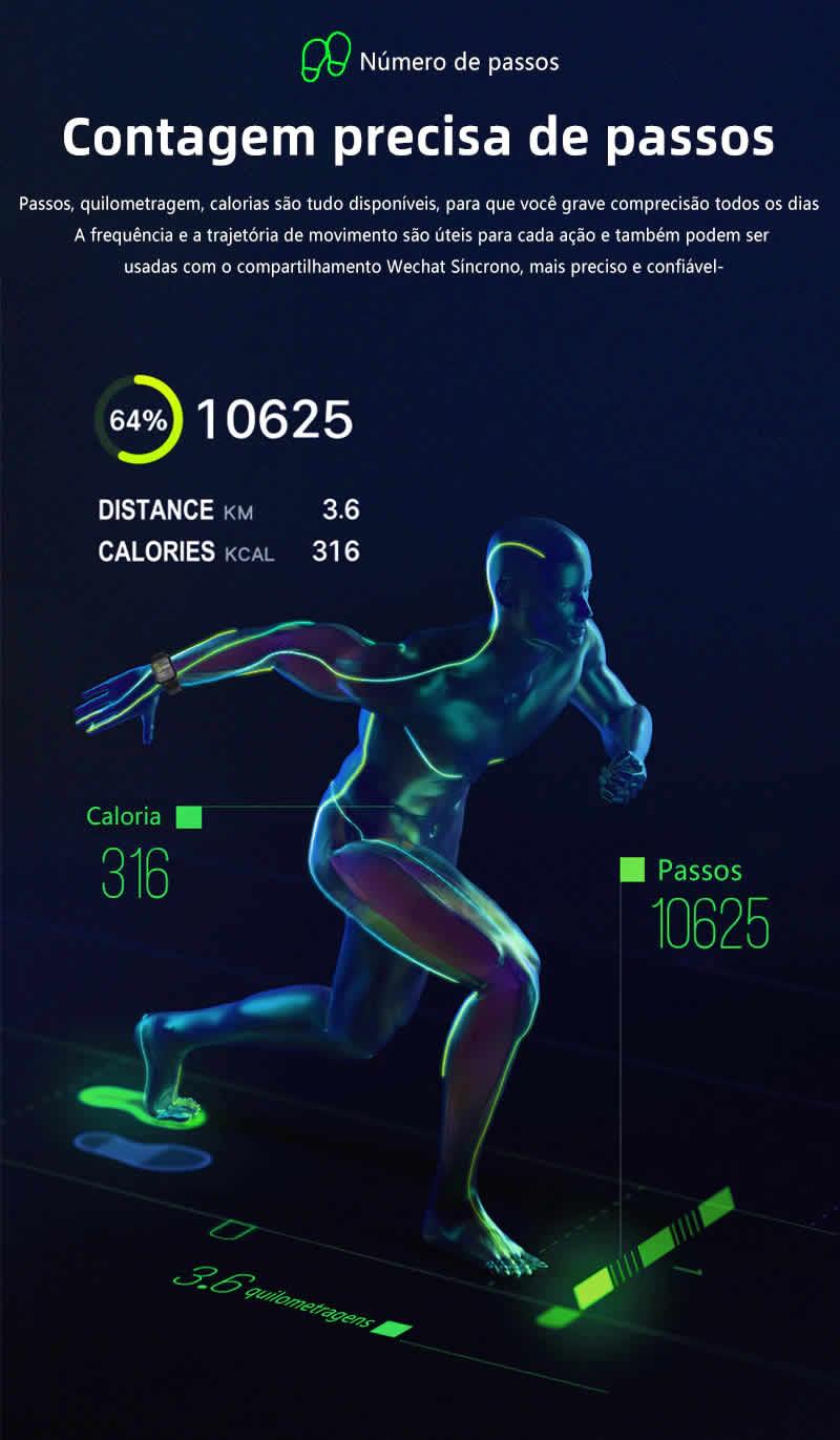 Relógio Unissex Smartwatch Hero Band B57 Relógio Inteligente iOS Android Calorias