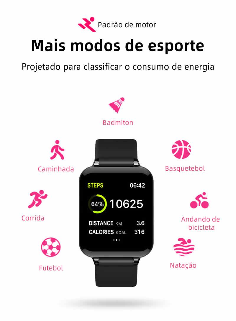 Relógio Unissex Smartwatch Hero Band B57 Relógio Inteligente iOS Android Modo Esporte