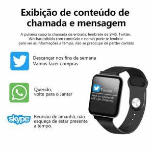 Relógio Unissex Smartwatch Hero Band B57 Relógio Inteligente iOS Android Mensagem Whatsapp Twitter Skype