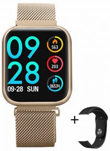 Relógio Eletrônico Smartwatch CF P80 - IP68 - Android e iOS - + 1 Pulseira de Brinde Dourado