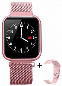 Relógio Eletrônico Smartwatch CF P80 - IP68 - Android e iOS - + 1 Pulseira de Brinde Rosa