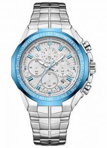 Relógio Masculino Cronógrafo Wwoor Luxo 6668 Prata Azul