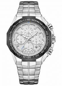 Relógio Masculino Cronógrafo Wwoor Luxo 6668 Prata Preto