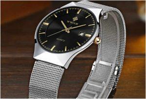 Relógio Masculino Wwoor 8016 Ultra Fino Quartzo Original Preto