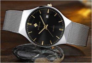Relógio Masculino Wwoor 8016 Ultra Fino Quartzo Original Cristal