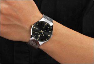 Relógio Masculino Wwoor 8016 Ultra Fino Quartzo Original Preto Luxo