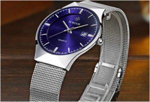 Relógio Masculino Wwoor 8016 Ultra Fino Quartzo Original Azul