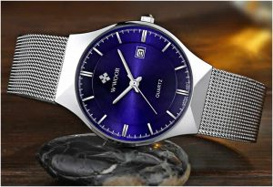 Relógio Masculino Wwoor 8016 Ultra Fino Quartzo Original Azul Luxo