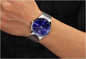 Relógio Masculino Wwoor 8016 Ultra Fino Quartzo Original Azul Cristal