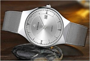 Relógio Masculino Wwoor 8016 Ultra Fino Quartzo Original Prata Luxo