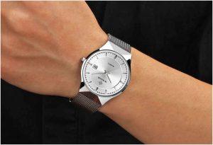 Relógio Masculino Wwoor 8016 Ultra Fino Quartzo Original Prata Moderno