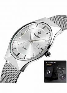 Relógio Masculino Wwoor 8016 Ultra Fino Quartzo Original Prata