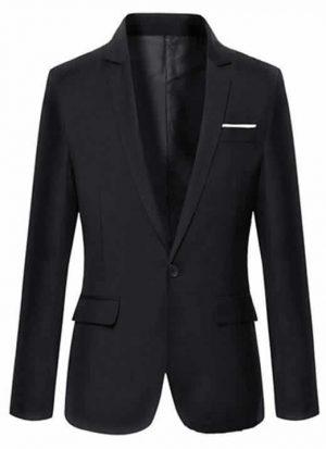 Blazer Clássico Preto - Corte Slim de Um Botão Masculino Importado