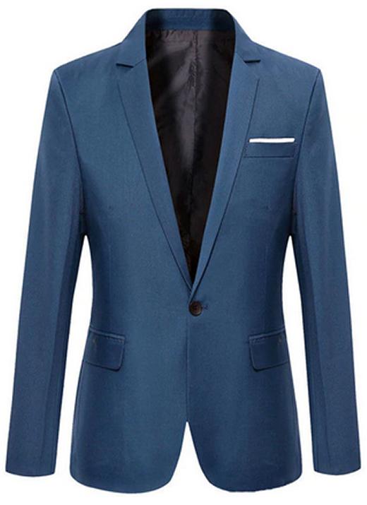 Blazer Clássico Azul - Corte Slim de Um Botão Masculino Importado