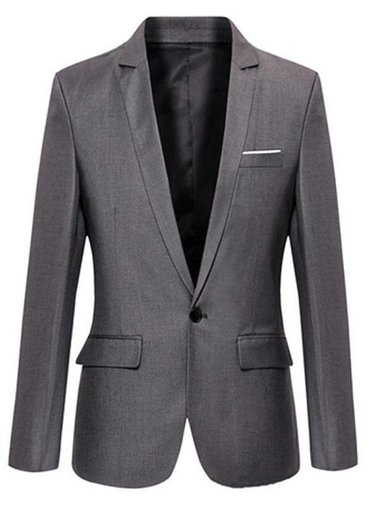 Blazer Clássico Cinza - Corte Slim de Um Botão Masculino Importado