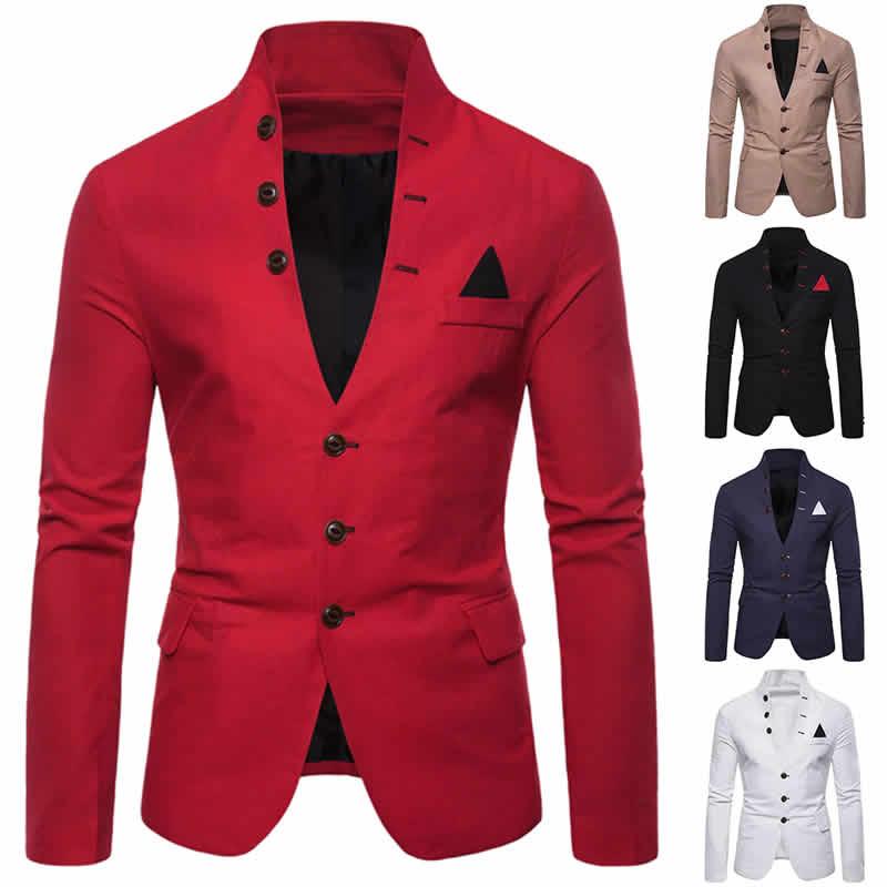 Blazers Masculinos Bege Preto Azul Branco Vermelho