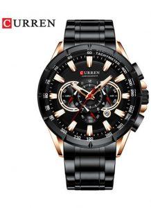 CURREN 8363 Relógio Quartz com Seis Pinos Calendário Multifuncional Preto Rose